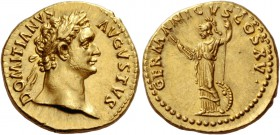 Domitian augustus, 81 – 96. Aureus 90-91, AV 7.44 g. DOMITIANVS – AVGVSTVS Laureate head r. Rev. GERMANICVS COS XV Minerva, helmeted and draped, stand...