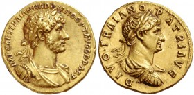 Hadrian, 117 – 134. Aureus 117, AV 7.32 g. IMP CAES TRAIAN HADRIANO OPT AVG G D PART Laureate and cuirassed bust of Hadrian r., with drapery on l. sho...