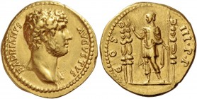 Hadrian, 117 – 134. Aureus 132-134, AV 7.15 g. HADRIANVS – AVGVSTVS Bare youthful head r., aegis on l. shoulder. Rev. COS – III P P Hadrian standing l...