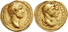 Hadrian, 117 – 134. Aureus 136-138, AV 7.12 g. HADRIANVS – AVGVSTVS Bare bust r., with drapery on l. shoulder. Rev. DIVIS – PARENTIBVS Jugate and drap...