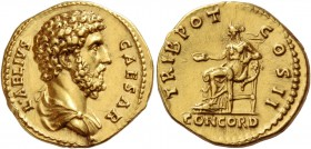 Aelius caesar, 136 – 138. Aureus 137, AV 7.25 g. L AELIVS – CAESAR Bareheaded and draped bust r. Rev. TRIB POT – COS II Concordia seated l., holding o...