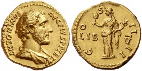 Antoninus Pius augustus, 138 – 161. Aureus 147-148, AV 7.25 g. ANTONINVS – AVG PIVS P P TR P XI Bare-headed and draped bust r. Rev. C – O – S – II – I...