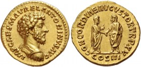 Marcus Aurelius augustus, 161 – 171. Aureus 161, AV 7.26 g. IMP CAES M AVREL ANTONINVS AVG Bare-headed and cuirassed bust r. Rev. CONCORDIAE AVGVSTOR ...