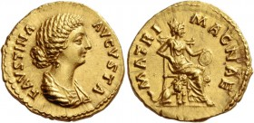 Faustina II, wife of Marcus Aurelius. Aureus 145-161, AV 7.31 g. FAVSTINA – AVGVSTA Draped bust r. Rev. MATRI – MAGNAE Cybele seated r. on throne, hol...