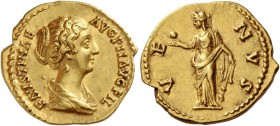 Faustina II, wife of Marcus Aurelius. Aureus circa 145-161, AV 7.16 g. FAVSTINAE – AVG PII AVG FIL Draped bust r., hair caught up behind. Rev. VE – NV...