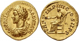 Commodus, 177 – 193. Aureus 180, AV 7.31 g. L AVREL COM – MODVS AVG Laureate, draped and cuirassed bust l. Rev. TR P V IMP IIII C – OS II P P Victory ...
