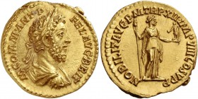 Commodus, 177 – 193. Aureus 186-187, AV 7.17 g. M COMM ANT P – FEL AVG BRIT Laureate, draped and cuirassed bust r. Rev. NOBILIT AVG P M TR P XII IMP V...