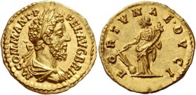 Commodus, 177 – 193. Aureus 189, AV 7.18 g. M COMM ANT P – FEL AVG BRIT Laureate, draped and cuirassed bust r. Rev. FORTVNAE DVCI Fortuna standing l.,...