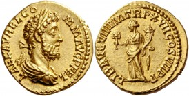 Commodus, 177 – 193. Aureus 192, AV 7.36 g. L·AEL·AVREL·CO – MM·AVG P FEL Laureate and draped bust r. Rev. LIB AVG VIII P M TR P XVII COS VII P P Libe...