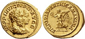 Septimius Severus, 193 – 211. Aureus 202-210, AV 6.97 g. IMPP INVICTI PII AVGG Conjoined laureate, draped and cuirassed busts of S. Severus and Caraca...