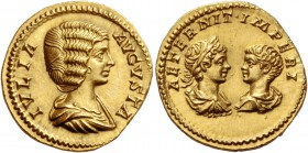 Julia Domna, wife of Septimius Severus. Aureus 201, AV 7.20 g. IVLIA – AVGVSTA Draped bust r. Rev. AETERNIT IMPERI Confronted busts of Caracalla laure...