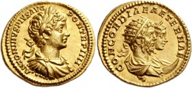 Caracalla, 198 – 217. Aureus 201, AV 7.28 g. ANTONINVS PIVS AVG – PON TR P IIII Laureate, draped and cuirassed bust of Caracalla r. Rev. CONCORDIAE AE...