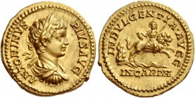 Caracalla, 198 – 217. Aureus 201-206, AV 7.25 g. ANTONINVS – PIVS AVG Laureate, draped and cuirassed bust r. Rev. INDVLGENTIA AVGG / IN CARTH Dea Cael...