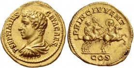 Geta caesar, 198 – 209. Aureus 203 – 208, AV 7.23 g. P SEPTIMIVS – GETA CAES Bare headed, draped and cuirassed bust l. Rev. PRINC IVENT / COS Septimiu...