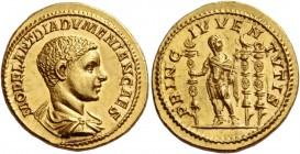 Diadumenian caesar, 217 – 218. Aureus late 217, AV 7.36 g. M OPEL ANT DIADVMENIAN CAES Bare-headed and draped bust r. Rev. PRINC IVVENTVTIS Diadumenia...