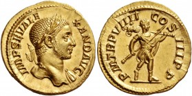 Severus Alexander, 222 – 235. Aureus 230, AV 5.86 g. IMP SEV ALE – XAND AVG Laureate bust r., with drapery on l. shoulder. Rev. P M TR P VIIII – CO – ...