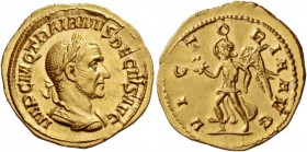 Trajan Decius, 249 – 251. Aureus 249-251, AV 4.95 g. IMP C M Q TRAIANVS DECIVS AVG Laureate and cuirassed bust r. Rev. VICTO – RIA AVG Victory advanci...