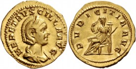Herennia Etruscilla, wife of Trajan Decius. Aureus circa 249-251, AV 5.24 g. HER ETRVSCILLA AVG Diademed and draped bust r. Rev. PVDICITIA AVG Pudicit...
