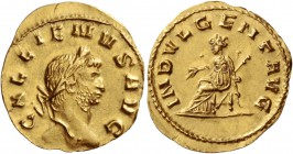 Gallienus sole reign, 260 – 268. Reduced aureus 265-266, AV 2.05 g. GALLIENVS AVG Laureate head r. Rev. INDVLGENT AVG Indulgentia seated l., holding b...