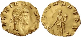 Gallienus sole reign, 260 – 268. Reduced aureus 265-266, AV 1.17 g. GALLIENVS AVG Laureate head r. Rev. [FORT]VNA REDVX Fortuna standing l., holding r...