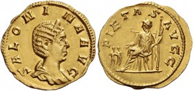 Salonina, wife of Gallienus. Aureus 253/4-259, AV 2.26 g. SALONINA AVG Diademed and draped bust r. Rev. PIETAS AVGG Pietas seated l., holding sceptre ...