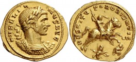 Aurelian, 270 – 275. Aureus, Antioch early 273, AV 5.29 g. AVRELIA – NVS AVG Laureate and cuirassed bust r.; with lion's skin (?) over l. shoulder. Re...