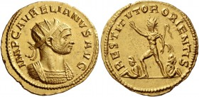 Aurelian, 270 – 275. Binio, Antioch end 273, AV 5.99 g. IMP C AVRELIANVS AVG Radiate and cuirassed bust r. Rev. RESTITVTOR ORIENTIS Sol standing l., r...