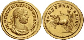 Florian, June – August 276. Heavy aureus, Cyzicus 276, AV 6.42 g. IMP C M ANNIVS FLORIANVS AVG Laureate, draped and cuirassed bust r. Rev. CONSERVATOR...