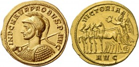 Probus, 276 – 282. Aureus, Serdica 276–282, AV 6.40 g. IMP C M AVR PROBVS P – AVG Helmeted and cuirassed bust l., holding spear in r. hand and shield ...