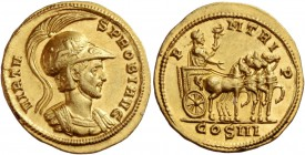 Probus, 276 – 282. Aureus, Siscia 279, AV 6.04 g. VIRTV – S PROBI AVG Helmeted and cuirassed bust r. Rev. P – M TR I – P Emperor, laureate and togate ...