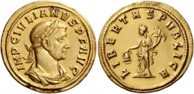 Julian of Pannonia, 284 – 285. Aureus, Siscia circa 284, AV 5.22 g. IMP C IVLIANVS P F AVG Laureate, draped and cuirassed bust r. Rev. LIBERTAS PVBLIC...