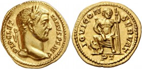 Diocletian, 284 – 305. Aureus, Treveri 293-294, AV 5.00 g. DIOCLET – IANVS P F AVG Laureate head r. Rev. IOVI CON – SERVAT Jupiter seated facing, hold...