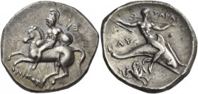 Calabria, Tarentum. Nomos circa 302-280, AR 7.71 g. Helmeted horseman l., holding shield and dismounting from horse; behind, YE(E retrograd) and, bene...