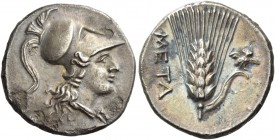 Lucania, Metapontum. Quarter-shekel circa 215-207, AR 3.32 g. Draped bust of Athena r., wearing crested Corinthian helmet. Rev. META Ear of barley wit...