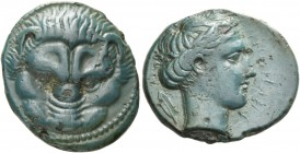 Rhegium. Bronze circa 415-387, 4.83 g. Lion mask. Rev. PHΓINON Laureate head of Apollo r.; behind, olive leaf. McClean pl. 60, 11. SNG ANS 684. Rutter...