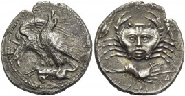 Sicily, Agrigentum. Drachm circa 420, AR 3.91 g. Two eagles perched l. on carcass of hare; further eagle, wings half open, leaning forward to peck; th...