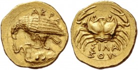 Sicily, Agrigentum. Diobol circa 409-406, AV 1.34 g. AKPA Eagle standing l. on rock devouring serpent. On rock, two pellets. Rev. Crab; below, ΣIΛA / ...
