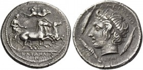 Catana. Drachm signed by Euainetos circa 405 BC, AR 4.09 g. Fast quadriga driven r. by charioteer, holding kentron and reins; above, Nike flying l. to...