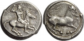 Gela. Tetradrachm circa 475-465, AR 17.34 g. Naked, bearded rider wearing conical helmet, on horse prancing r., spear in r. hand, l. holding reins. Re...