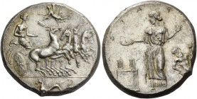 Himera. Tetradrachm before 405, AR 17.14 g. Fast quadriga driven r. by nymph Himera; above Nike flying to l. to crown her with r. hand, while holding ...
