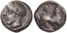 Piakos. Onkia circa 410-400, Æ 1.00 g. Laureate head of young river-god l. Rev. Dog crouching r.; above, oak branch with acorn. Calciati 3 (this coin)...