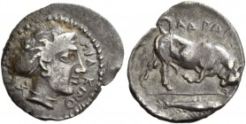 Piakos. Litra circa 400, AR 0.70 g. ΠIAKINO Head of nymph r., wearing ampyx and sphendone; behind, Σ retrograde. Rev. ΑΔΡΑΝ[ΟΣ] Bull butting r.; in ex...