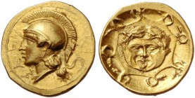Syracuse. Didrachm circa 405, AV 0.67 g. ΣVPA retrograde. Head of Athena l., wearing Attic crested helmet. Rev. Aegis with gorgoneion. Jameson 817 (th...