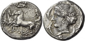 Syracuse. Tetradrachm unsigned work of Parmenides circa 405, AR 16.01 g. Fast quadriga driven l. by charioteer pulling back the reins with both hands ...