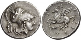 Syracuse. Stater circa 317-306/5, AR 8.26 g. Head of Athena r., wearing crested Corinthian helmet, bowl decorated with griffin; behind, palladium. Rev...
