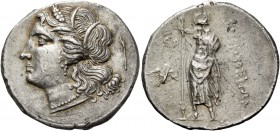 Syracuse. 10 litrae circa 214-212 under the Democracy, AR 8.45 g. Female head l., wearing barley wreath, earring and necklace; behind, lighted torch. ...