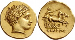 Kings of Macedonia, Philip II 359 – 336 and posthumous issues. Stater, Pella circa 323-315, AV 8.60 g. Laureate head of Apollo r. Rev. Prancing biga d...