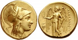 Alexander III the Great, 336 – 323 and posthumous issues. Distater, Amphipolis circa 330-320, AV 17.13 g. Head of Athena r., wearing triple-crested Co...
