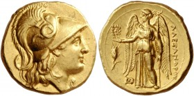 Alexander III the Great, 336 – 323 and posthumous issues. Stater, Abydus (?) circa 323-317, AV 8.61 g. Head of Athena r., wearing crested Corinthian h...