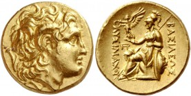 Kingdom of Thrace, Lysimachus, 323 – 281 and posthumous issues. Stater, uncertain mint 323-281, AV 8.44 g. Diademed head of deified Alexander r., with...